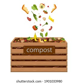 wooden compost box, bin with food waste vector illustration. garden composter for organic recycling of kitchen, natural household garbage. composted fertile soil, earth worms and biodegradable trash