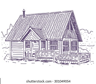 Wooden cottage house simple vector drawing
