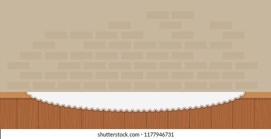 Wooden counter with a napkin against a brick wall background vector flat material design isolated on white