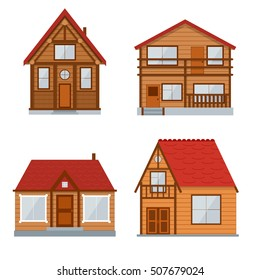 Wooden Country House, Cottage Set. Traditional Eco Building. Vector illustration of four flat cartoon log Concept of home on the nature. Mountain chalet Exterior Wood construction