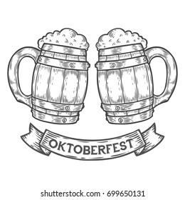 Wooden craft beer mug. Happy oktoberfest. Black vintage engraved hand drawn vector illustration. Sketch Wooden cylindrical container for liquid. Black isolated on white background.