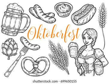 Wooden craft beer mug, pretzel, wheat, fork, sausage, hop, mustard, girl. Oktoberfest vector set. Black vintage engraved hand drawn sketch illustration. Black isolated on white background.