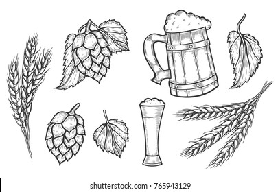Wooden craft mug of beer, a glass, hop with leaves and wheat ears.