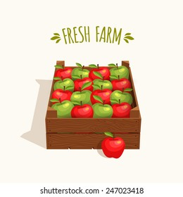 Wooden crate full of apples red and green. Vector illustration
