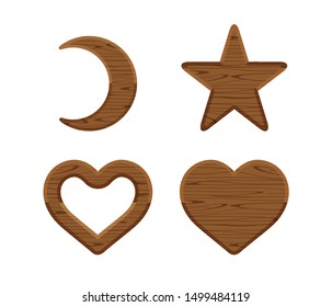 wooden crescent moon, star wood cute, heart shaped wood, wooden heart frame shape dark brown retro, different shapes wooden cut out for vintage decoration, wood plank star and crescent moon and heart