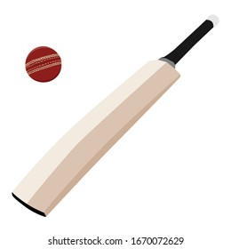 Wooden cricket bat and red cricket ball isolated on white isometric view. Sport equipment