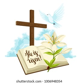 Wooden cross with bible, lily and dove. Happy Easter concept illustration or greeting card. Religious symbols of faith against clouds.