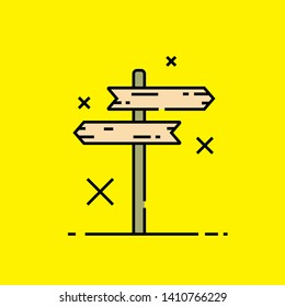 Wooden crossroad signpost icon. Wood guidepost direction sign isolated on yellow background. Vector illustration.