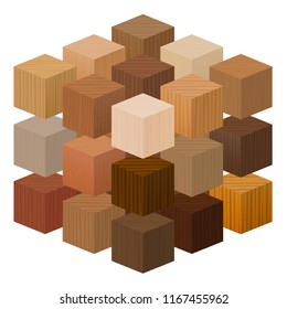 Wooden cubes forming a big artistic carpentry artwork - wood samples with different textures, colors, glazes, from various trees - vector on white background.