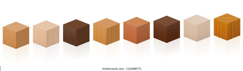 Wooden cubes - sample set with different colors, glazes, textures from various trees to choose - brown, dark, gray, light, red, yellow, orange decor models - vector on white background.