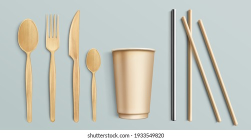 Wooden cutlery, paper cup and metal straw. Reusable and disposable flatware. Vector realistic set of fork, spoons and knife from wood or bamboo, steel and paper straws for drinks, brown carton mug