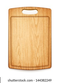 wooden cutting board on white background eps10 vector illustration