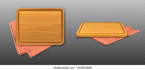 Wooden cutting board and red plaid tablecloth isolated on transparent background. Vector realistic set of 3d rectangle wood plank for cut food and folded table cloth with gingham pattern