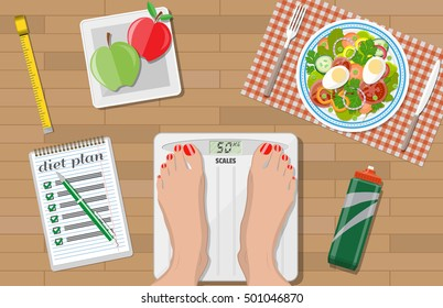 Wooden desk with plate of salad, woman feet on scales, inch roulette, note with diet plan and pen, sports water bottle, apples. weight loss, diet, healthy lifestyle. vector illustration in flat style