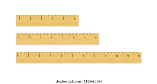 Wooden different size rulers 6, 8 and 12 inch long isolated on white background. Vector stock illustration.