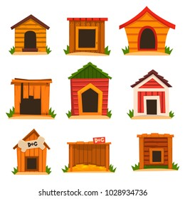 Wooden dog house set, dogs kennel cartoon vector Illustrations