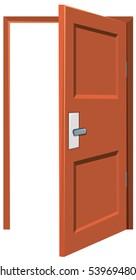 Wooden door being left opened illustration