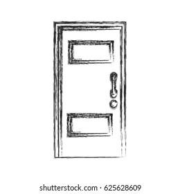 Wooden Door Entrance Closed Sketch