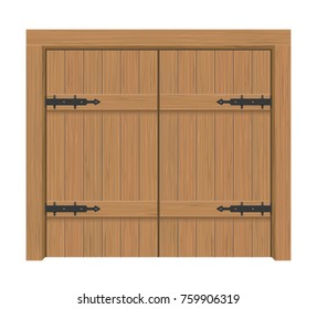 Wooden door gate, Interior apartment closed double-door with iron hinges, Realistic vector Illustration