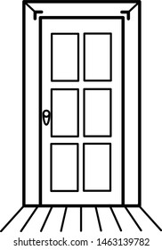 Wooden door icon in outline style. Coloring template for modification and customizing  according to a specific task.