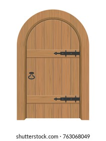 Wooden door, Interior apartment closed door with iron hinges, Realistic vector Illustration