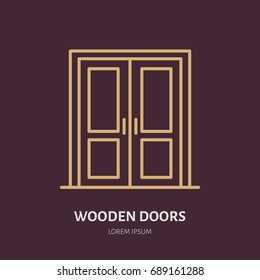 Wooden doors installation logo, repair flat line icon. Interior design thin linear sign for house decor shop, handyman service.