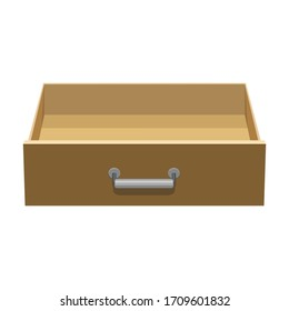 Wooden drawer vector icon.Cartoon vector icon isolated on white background wooden drawer.
