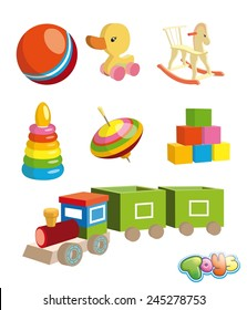 wooden duck on wheels childrens toy vector illustration