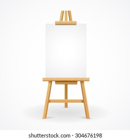 Wooden easel with blank space ready for your advertising and presentations. Vector illustration