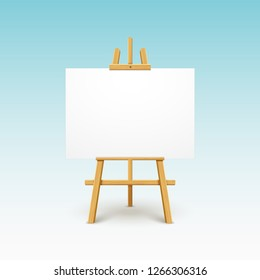 Wooden easel canvas board isolated stand. Blank empty vector easel poster billboard.