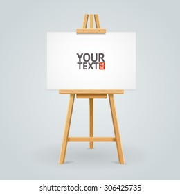 Wooden easel isolated on grey background with place for your text. Vector illustration