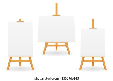 wooden easel for painting and drawing with a blank sheet of paper template for design vector illustration isolated on white background