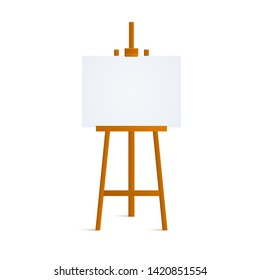 Wooden easel for painting Isolated on white background. Blank art board and wooden easel. Vector illustration