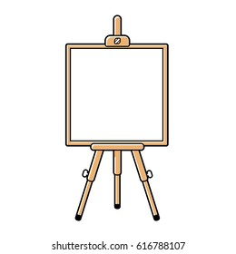 Wooden easel or presentation stand with a white blank board isolated.