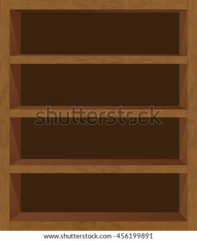 Wooden Empty Bookshelf Vector Template