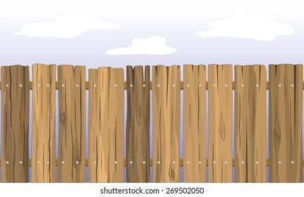 Wooden fence against the sky.