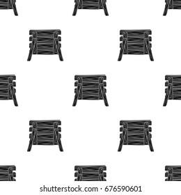 Wooden fence, barikadda.Paintball single icon in black style vector symbol stock illustration web.