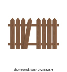 Wooden fence. Determination of the border. One board is broken off. A hole in the fence. Isolated element on white. Vector image.