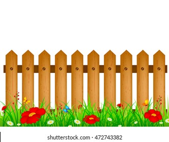 Wooden Fence Grass Isolated On White Stock Vector Royalty Free