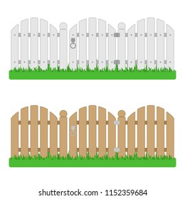 Wooden fence with gate on green grass. Garden fences isolated on white background. Vector illustration in flat style. EPS 10.