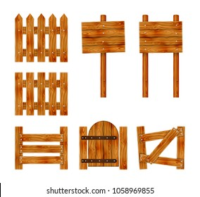 Wooden fence with a gate and signboard. Elements set for rural design. Cartoon vector illustration.