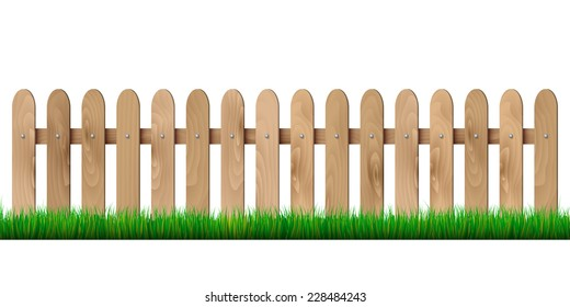 Wooden fence and grass - isolated on white background. Vector illustration.