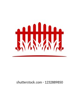 Wooden Fence with grass isolated vector symbol icon design. Fence logo.