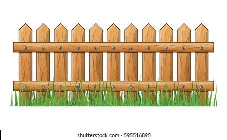 Wooden Fence with grass isolated vector symbol icon design. Beautiful illustration isolated on white background