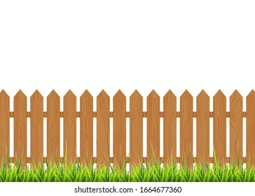 Wooden fence with grass. Vector illustration isolated on white background