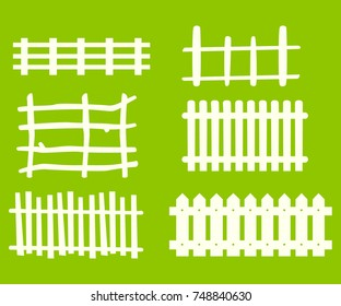 Wooden fence isolated on lime green background. Vector
