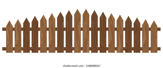 Wooden fence isolated on white background. Beautiful brown wooden fence.