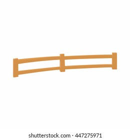 Wooden fence at ranch icon in cartoon style on a white background