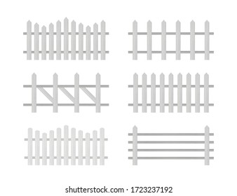Wooden fence. Rustic fence, pickets. Vector stock illustration.