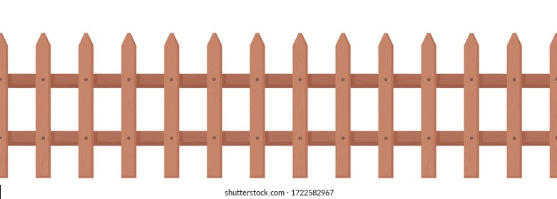Wooden fence rustic style. Picket fence for front garden, flower beds lawns, protection of private vector picket fence cartoon identical boards, brown.